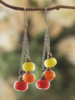 Borosilicate glass and sterling silver earrings