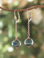 Earrings Leverback with Chain and Drop